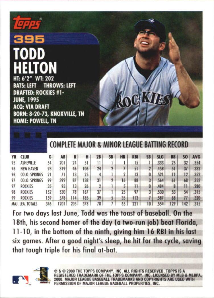 2000 Topps Home Team Advantage #395 Todd Helton back image