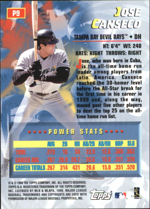 2000 Topps Power Players #P9 Jose Canseco back image