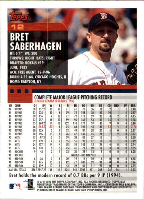 2000 Topps Limited #12 Bret Saberhagen back image