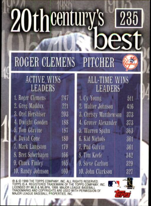2000 Topps Limited #235 Roger Clemens 20CB back image
