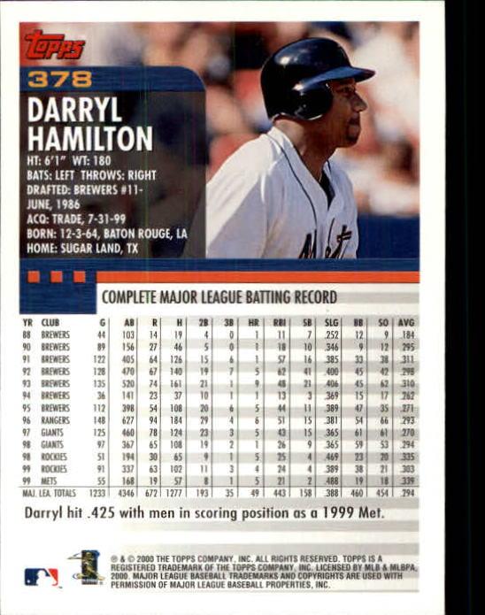 2000 Topps Limited #378 Darryl Hamilton back image