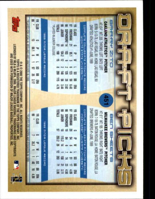 2000 Topps Limited #451 B.Zito/B.Sheets RC back image