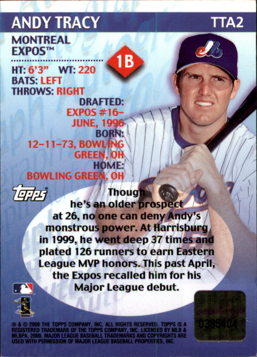 2000 Topps Traded Autographs #TTA2 Andy Tracy back image