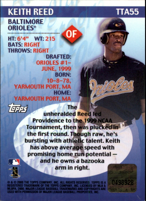 2000 Topps Traded Autographs #TTA55 Keith Reed back image