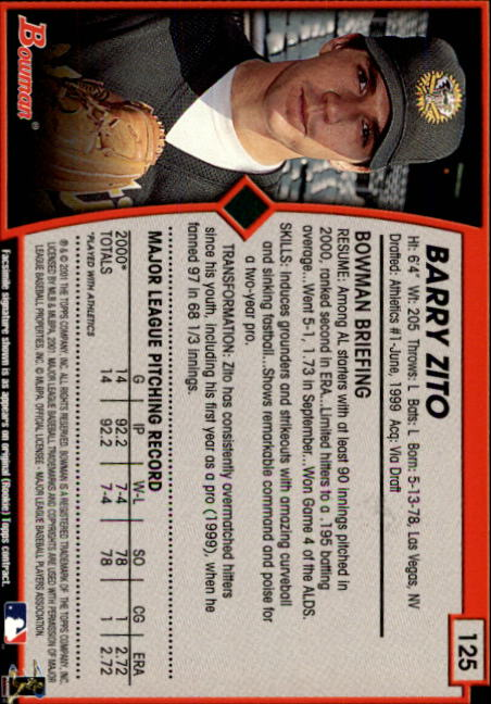 2001 Bowman #125 Barry Zito back image