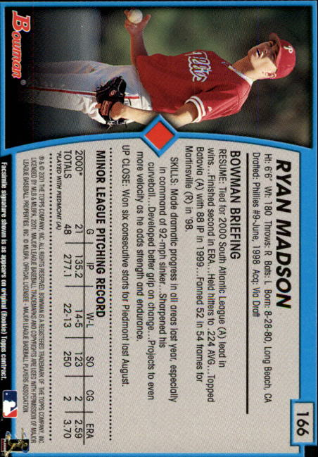2001 Bowman #166 Ryan Madson RC back image