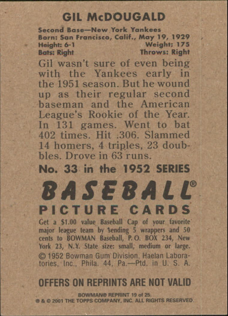2001 Bowman Rookie Reprints #19 Gil McDougald back image