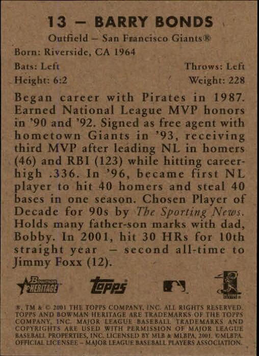 2001 Bowman Heritage #13 Barry Bonds back image