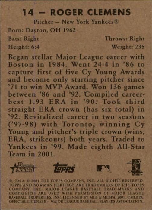 2001 Bowman Heritage #14 Roger Clemens back image