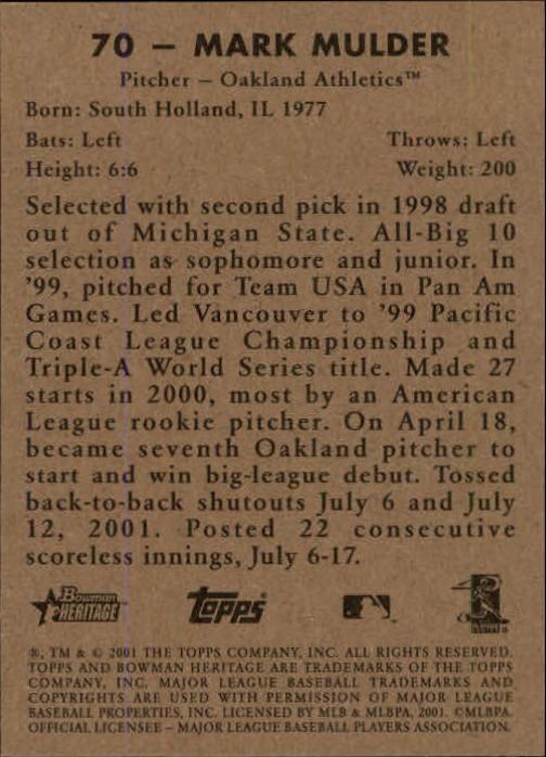 2001 Bowman Heritage #70 Mark Mulder back image