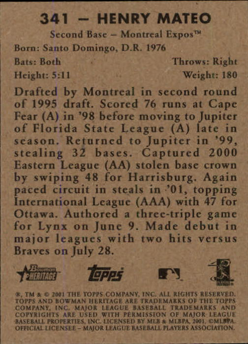 2001 Bowman Heritage #341 Henry Mateo SP RC back image