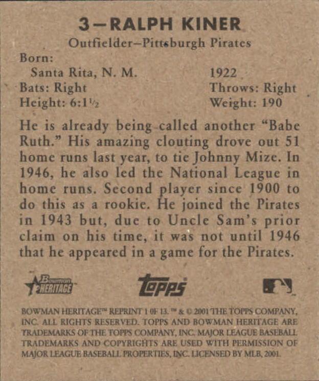 2001 Bowman Heritage 1948 Reprints #1 Ralph Kiner back image