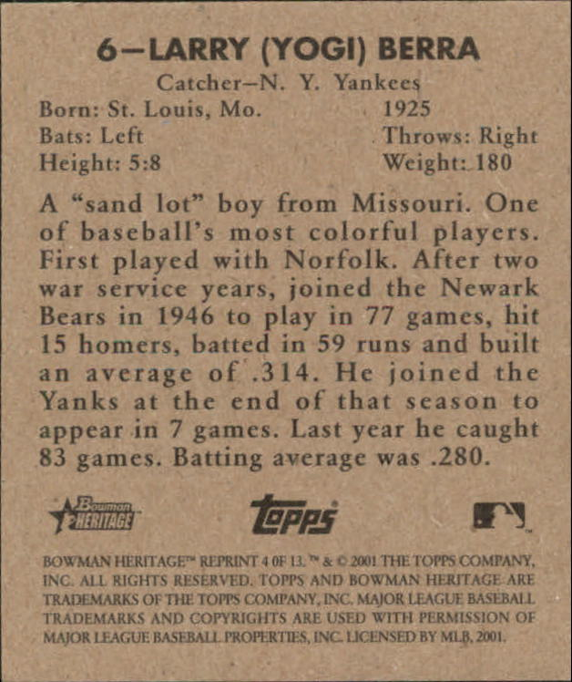 2001 Bowman Heritage 1948 Reprints #4 Yogi Berra back image