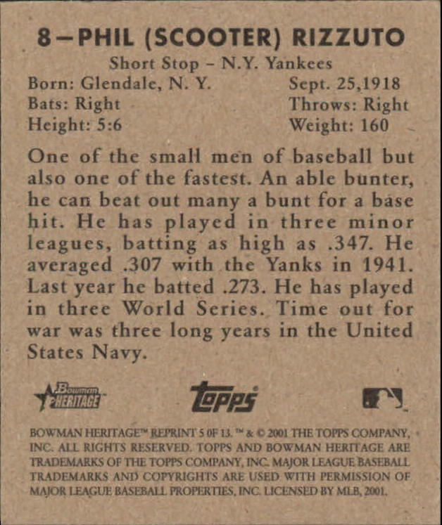 2001 Bowman Heritage 1948 Reprints #5 Phil Rizzuto back image