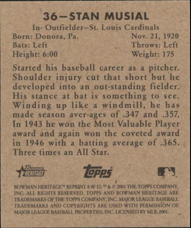 2001 Bowman Heritage 1948 Reprints #8 Stan Musial back image