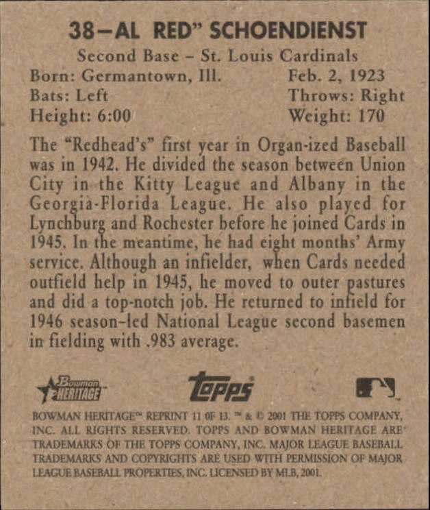 2001 Bowman Heritage 1948 Reprints #11 Red Schoendienst back image