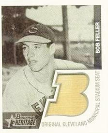 2001 Bowman Heritage 1948 Reprints Relics #BHMBF Bob Feller Seat A