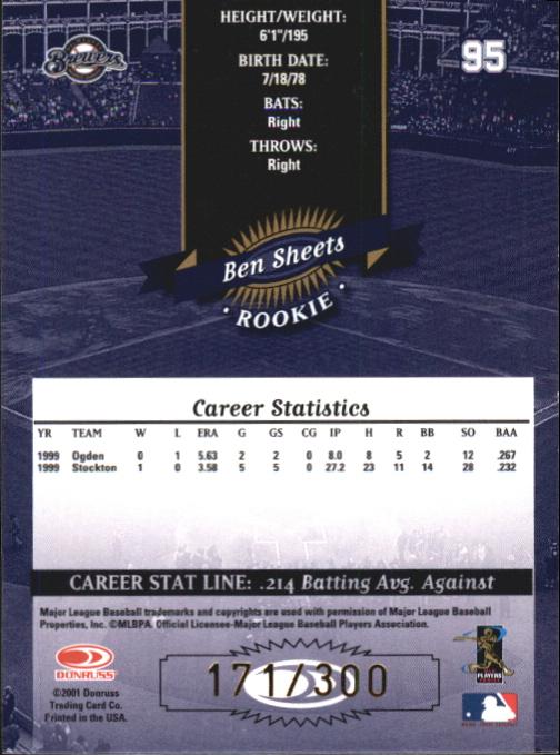 2001 Donruss 2000 Retro Stat Line Career #95B Ichiro Suzuki/159
