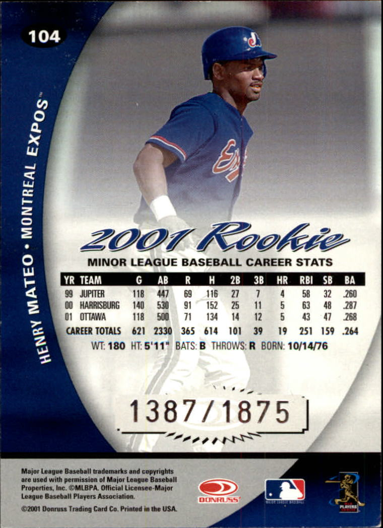 2001 Donruss Class of 2001 #104 Henry Mateo/1875 RC back image