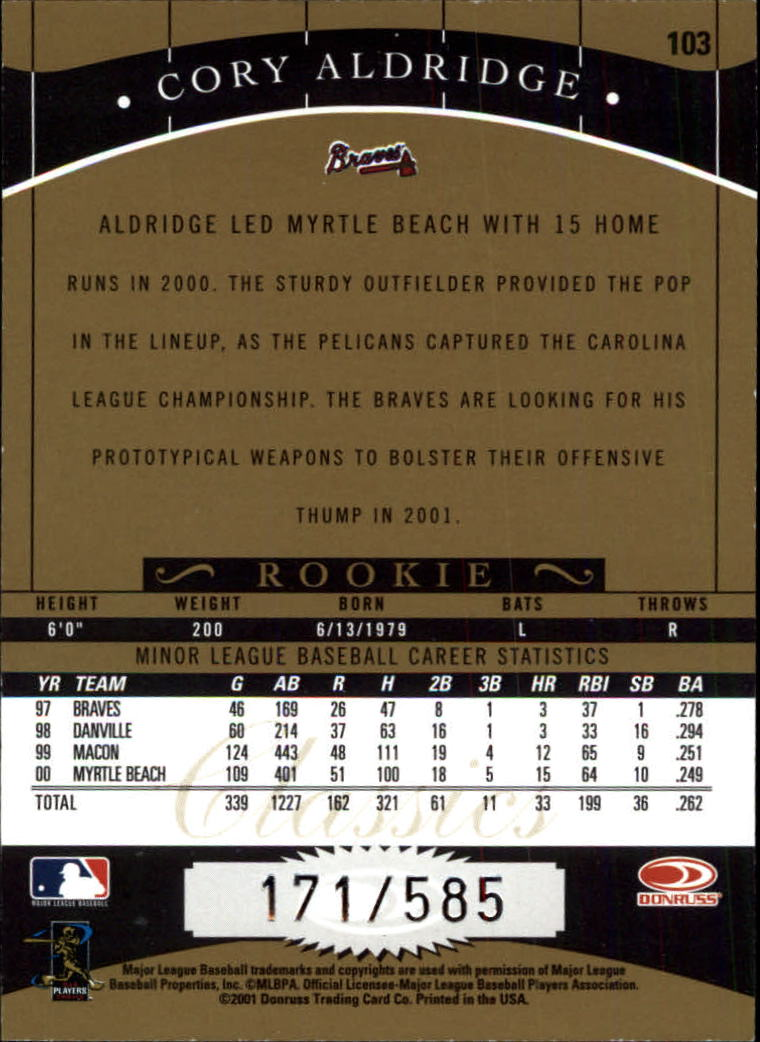 2001 Donruss Classics #103 Cory Aldridge SP RC back image