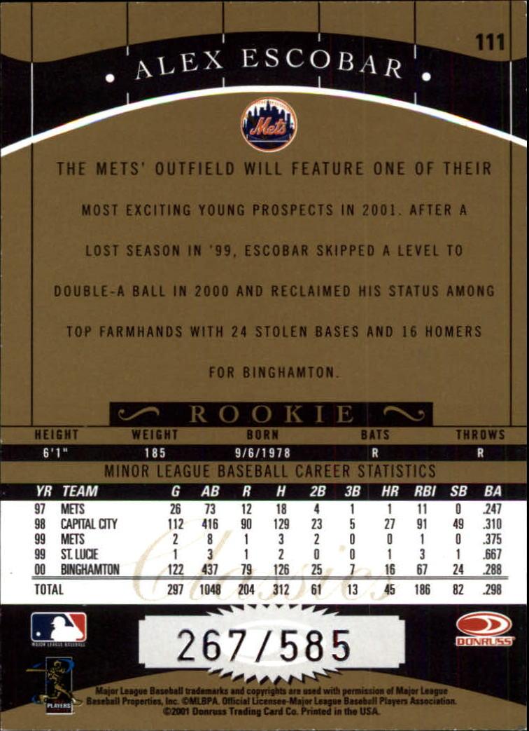 2001 Donruss Classics #111 Alex Escobar SP back image