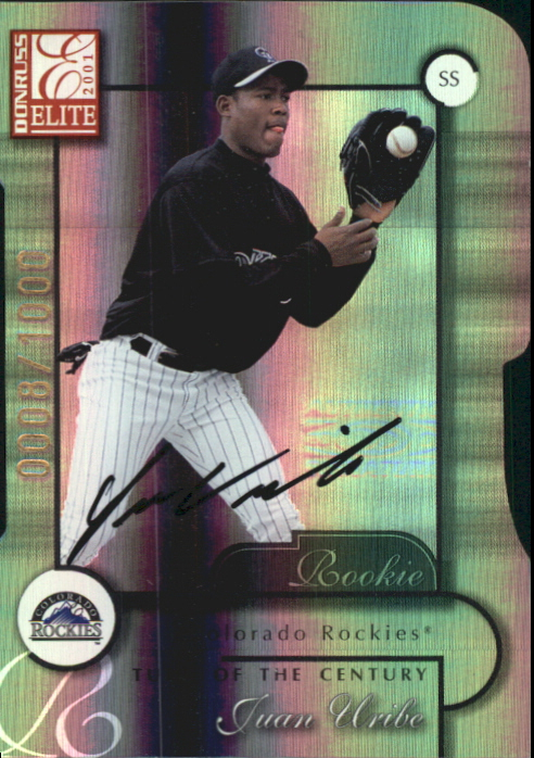 2001 Donruss Elite Turn of the Century Autographs #197 Juan Uribe