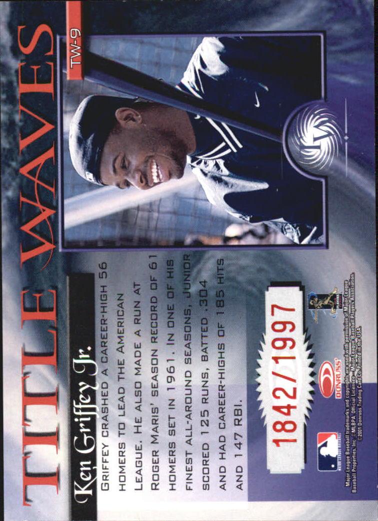 2001 Donruss Elite Title Waves #TW9 Ken Griffey Jr./1997 back image