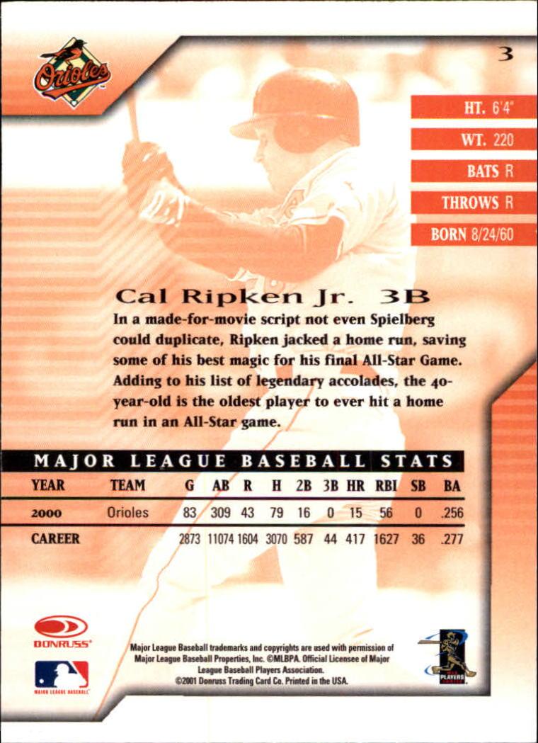2001 Donruss Signature #3 Cal Ripken back image