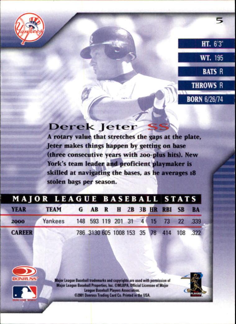 2001 Donruss Signature #5 Derek Jeter back image