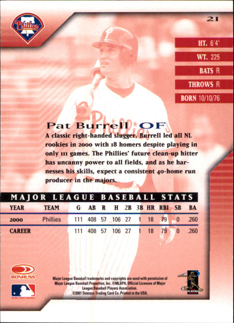 2001 Donruss Signature #21 Pat Burrell back image