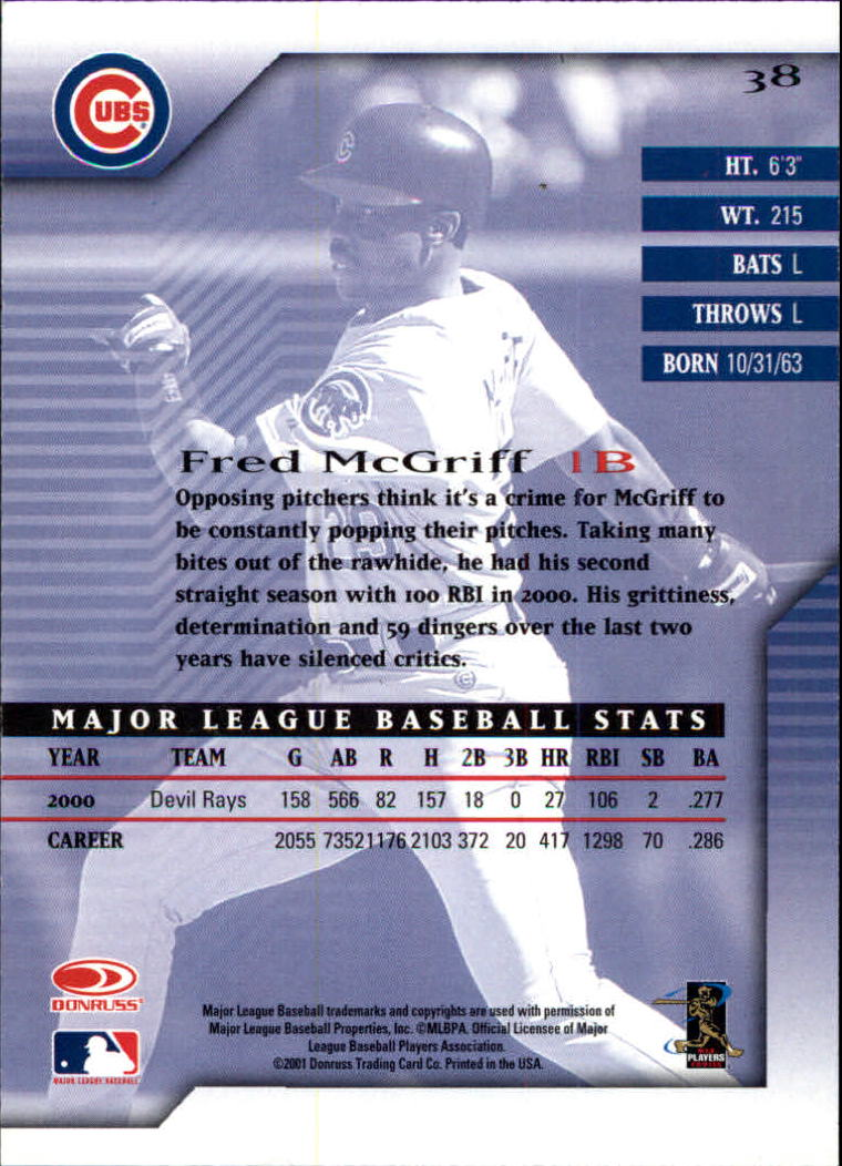 2001 Donruss Signature #38 Fred McGriff back image