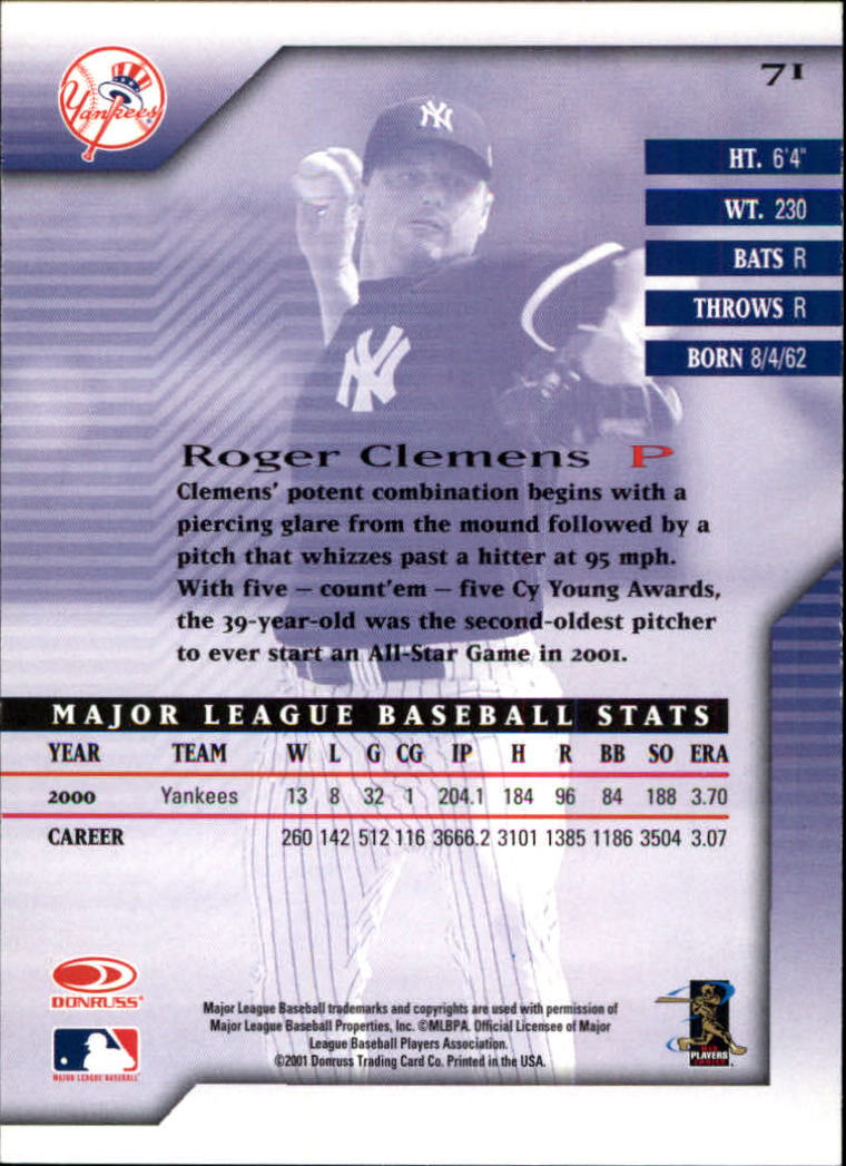 2001 Donruss Signature #71 Roger Clemens back image