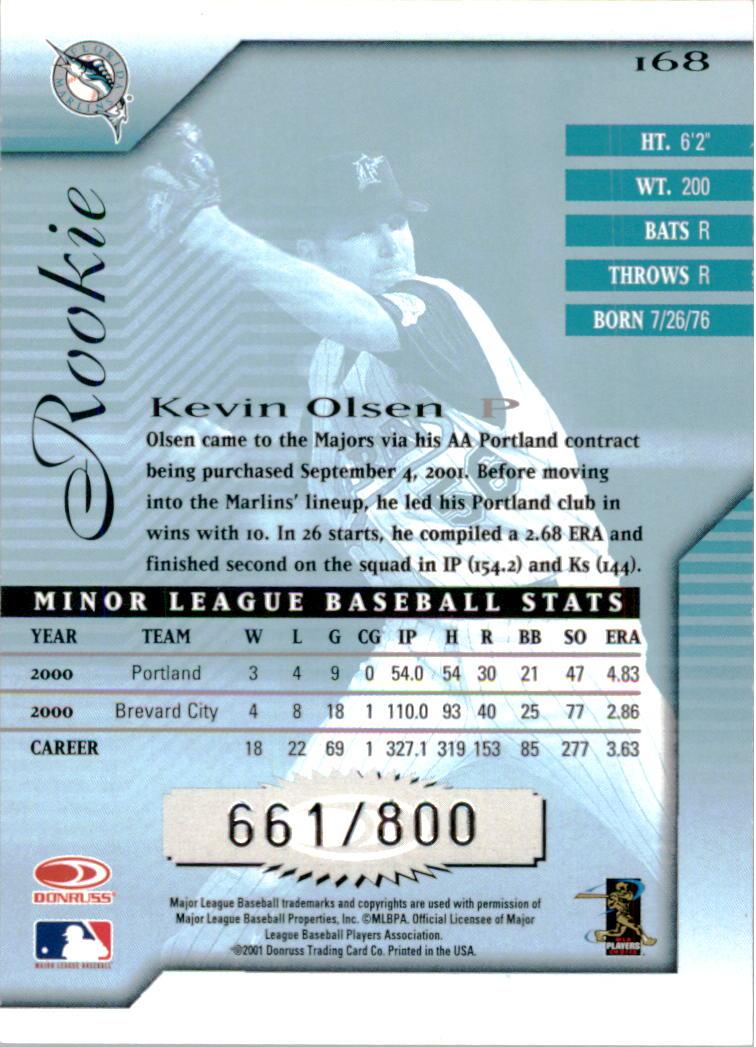 2001 Donruss Signature #168 Kevin Olsen RC back image