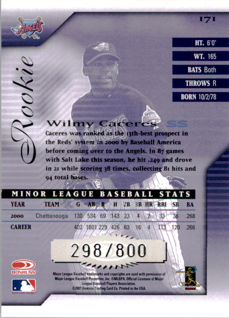 2001 Donruss Signature #171 Wilmy Caceres RC back image
