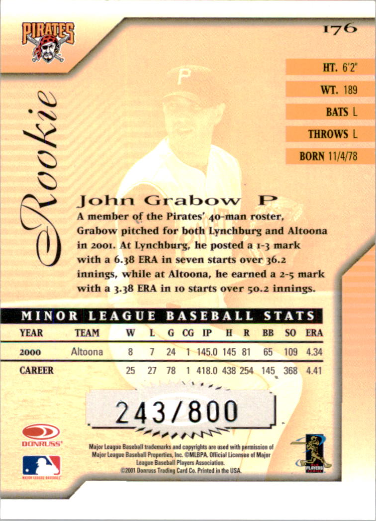 2001 Donruss Signature #176 John Grabow RC back image
