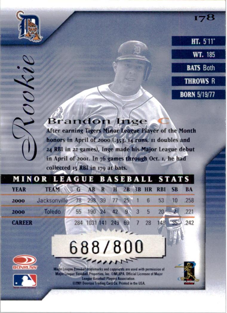 2001 Donruss Signature #178 Brandon Inge back image