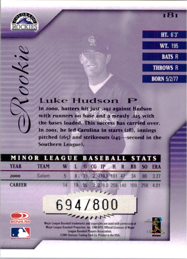 2001 Donruss Signature #181 Luke Hudson RC back image