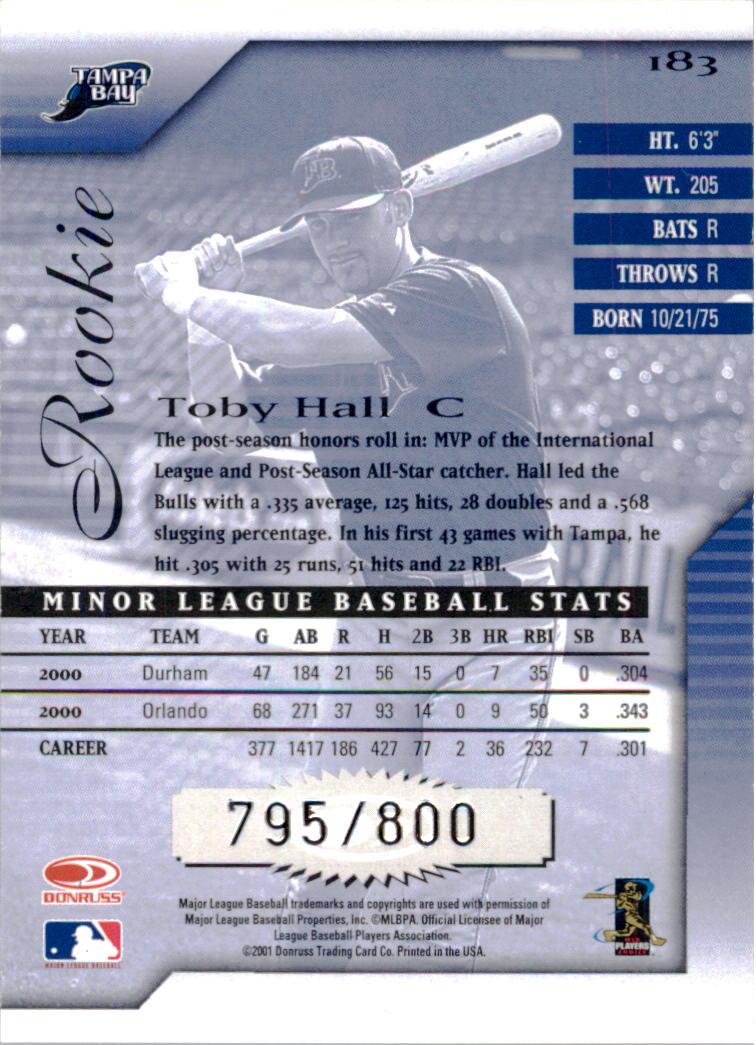 2001 Donruss Signature #183 Toby Hall back image