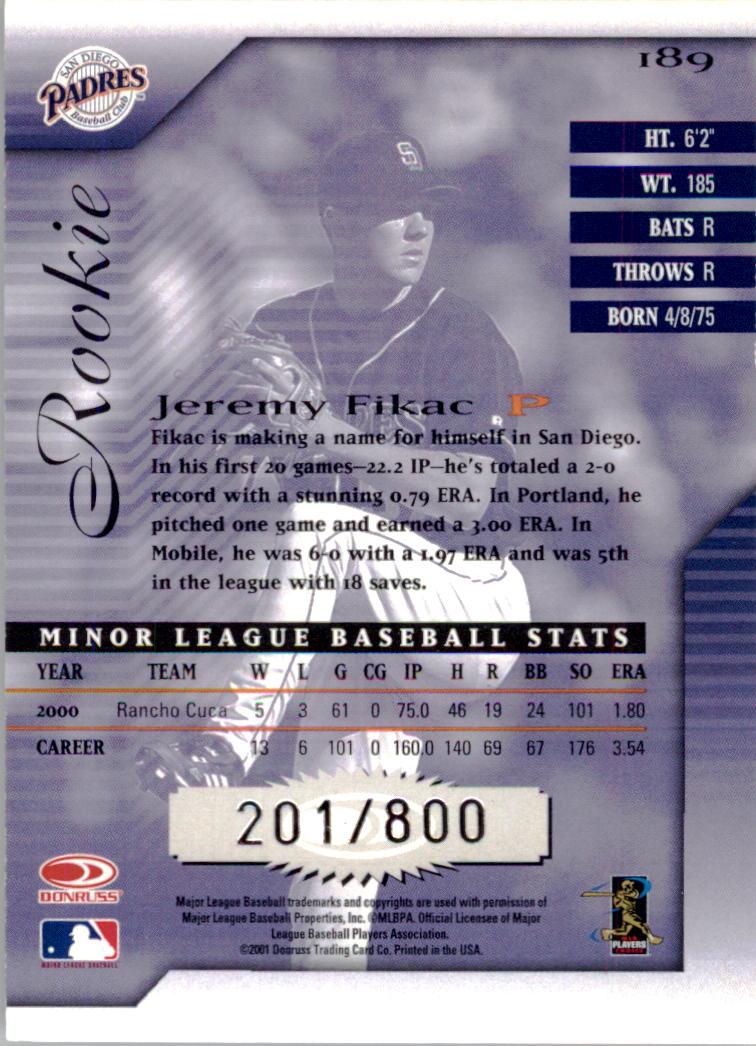 2001 Donruss Signature #189 Jeremy Fikac RC back image