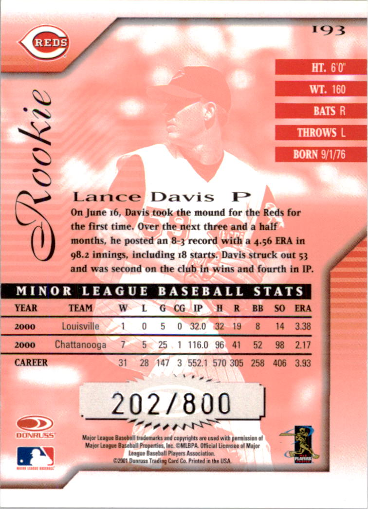 2001 Donruss Signature #193 Lance Davis RC back image