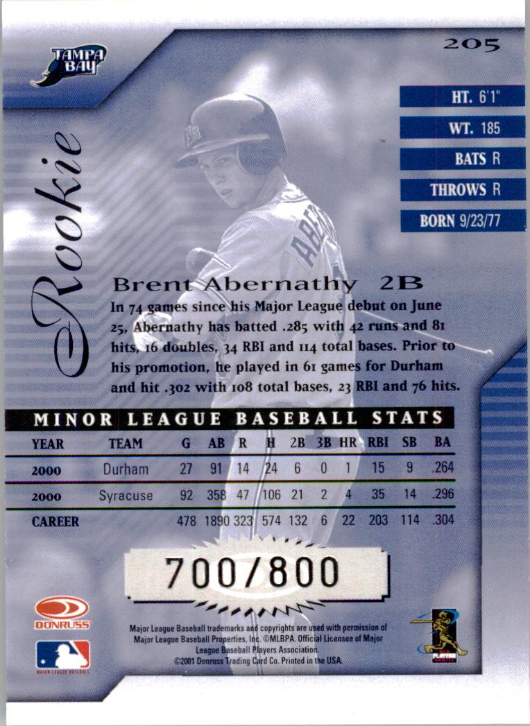 2001 Donruss Signature #205 Brent Abernathy back image