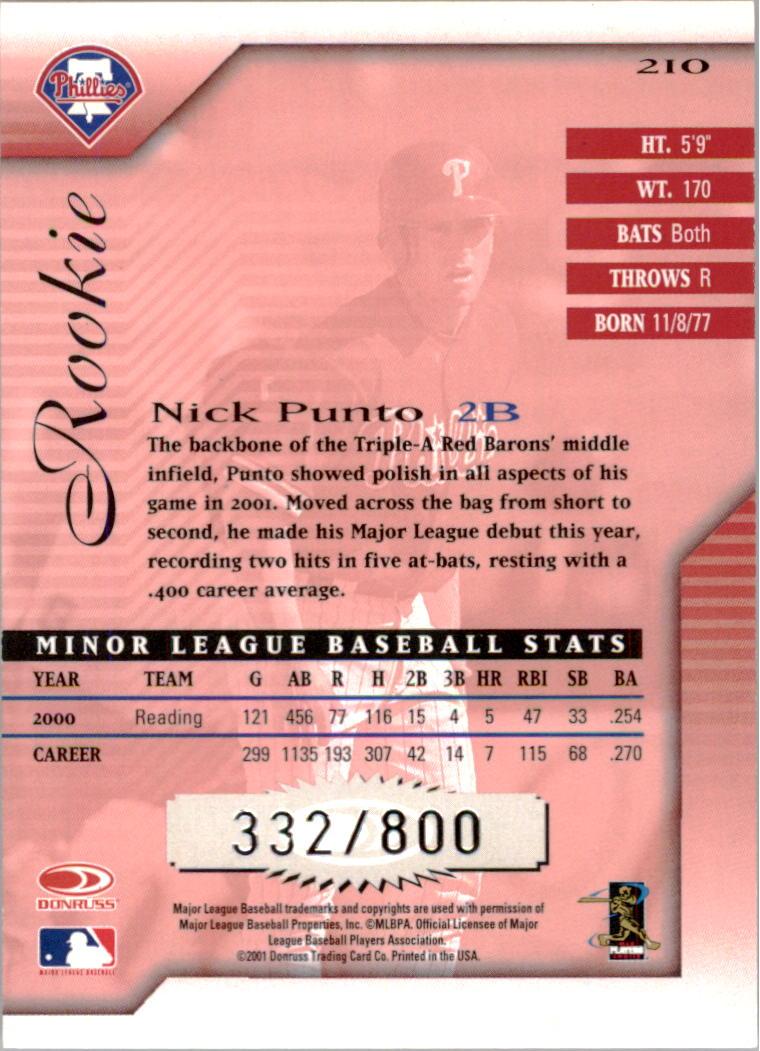 2001 Donruss Signature #210 Nick Punto RC back image