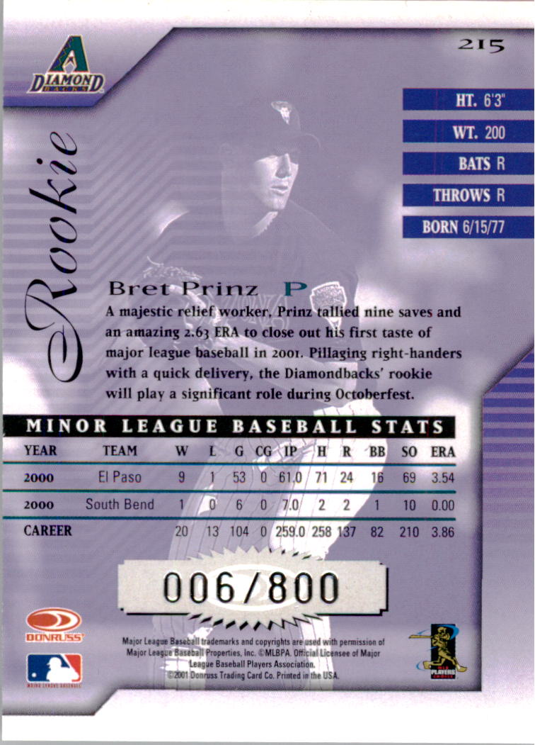 2001 Donruss Signature #215 Bret Prinz RC back image
