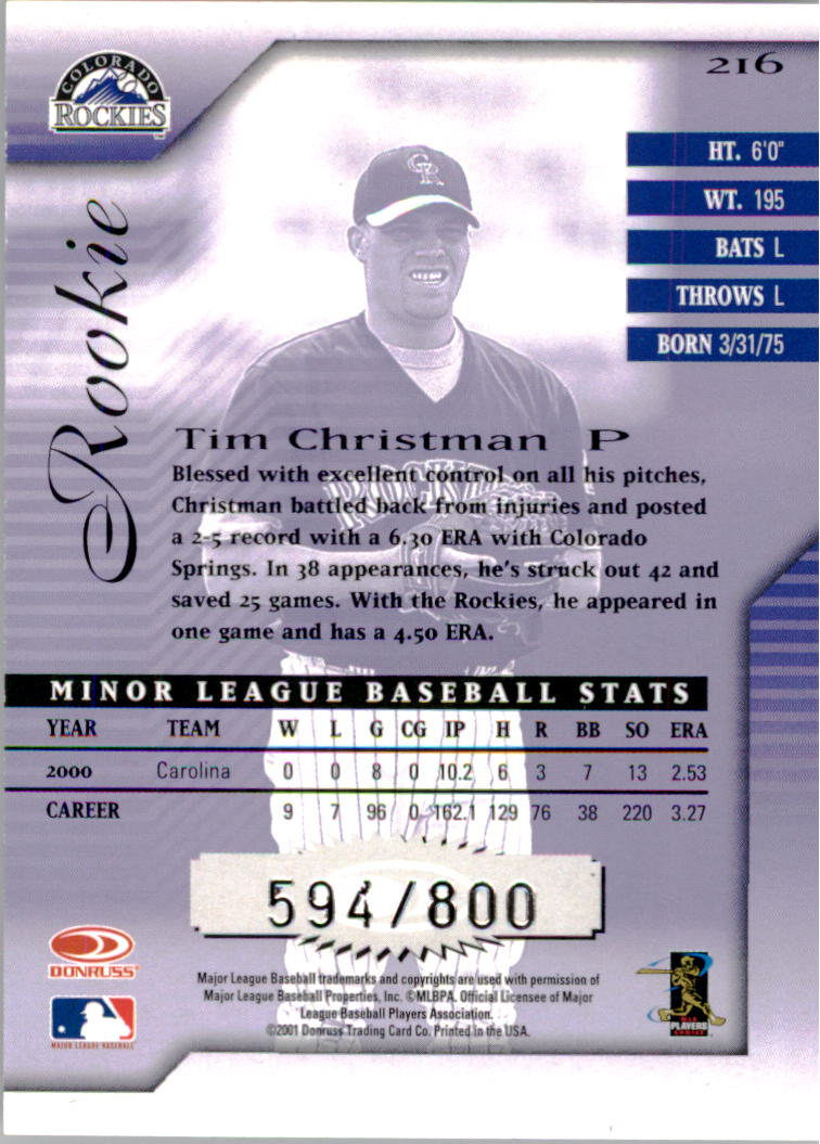 2001 Donruss Signature #216 Tim Christman RC back image