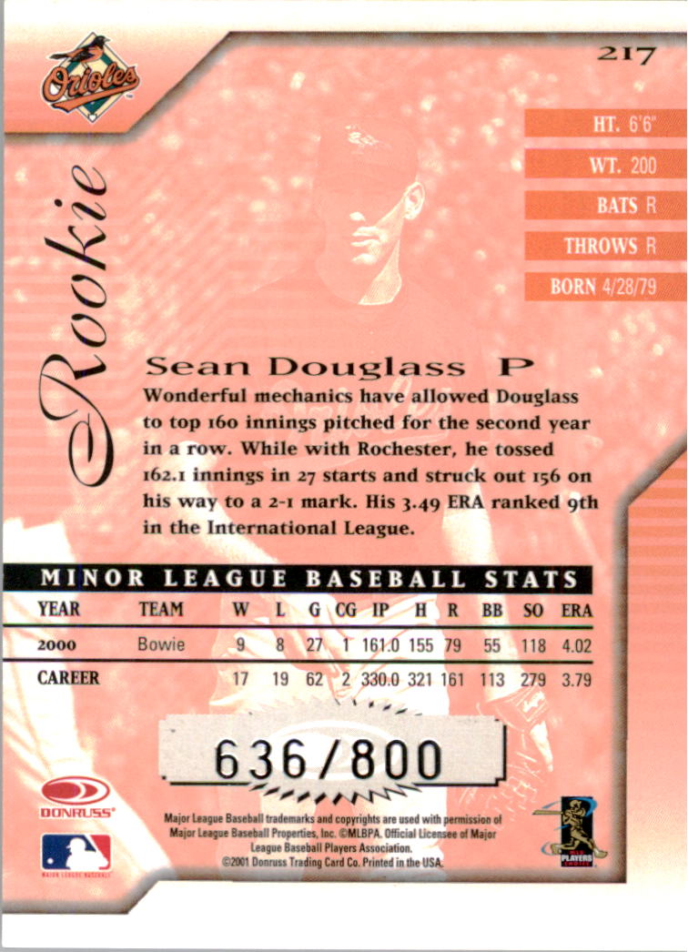 2001 Donruss Signature #217 Sean Douglass RC back image