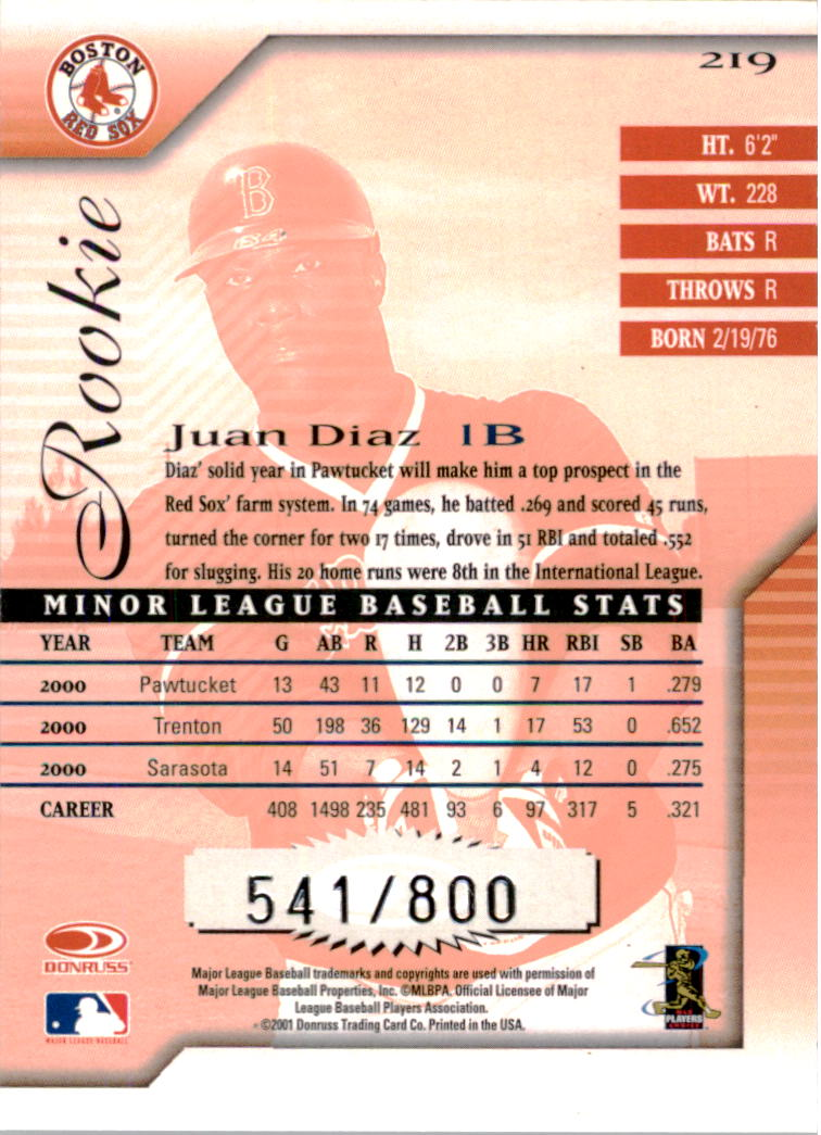 2001 Donruss Signature #219 Juan Diaz RC back image