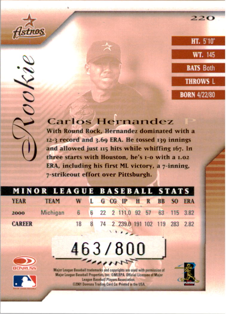 2001 Donruss Signature #220 Carlos Hernandez back image