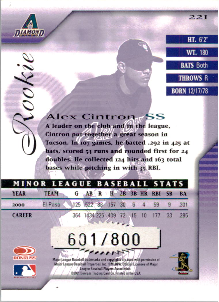 2001 Donruss Signature #221 Alex Cintron back image