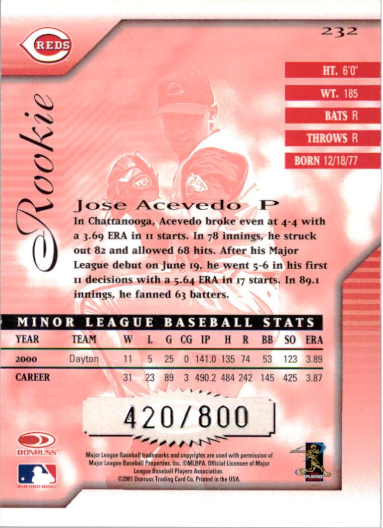 2001 Donruss Signature #232 Jose Acevedo RC back image