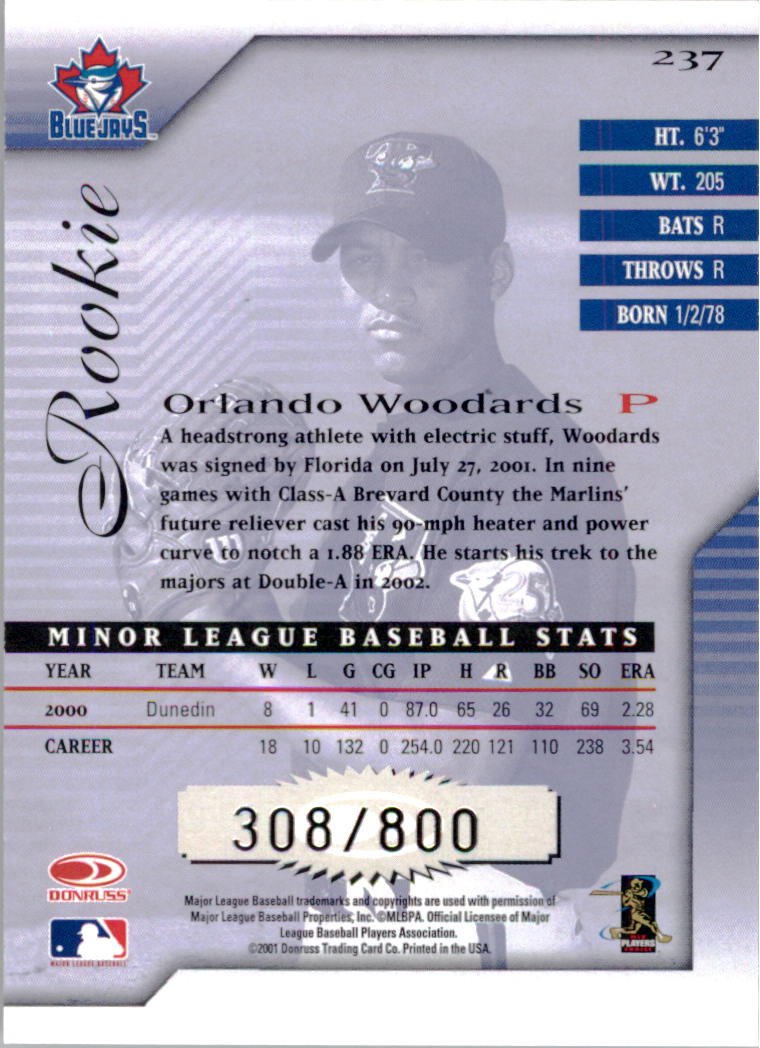 2001 Donruss Signature #237 Orlando Woodards RC back image